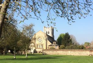 Waltham Abbey Church from the gardens