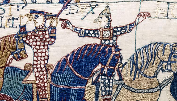 The panel of the Bayeux Tapestry featuring Eustace alongside William encouraging him to show himself amidst rumours he was dead.