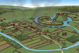 Medieval Ongar showing the village layout, mound for the castle, church and main street, still visible today.
