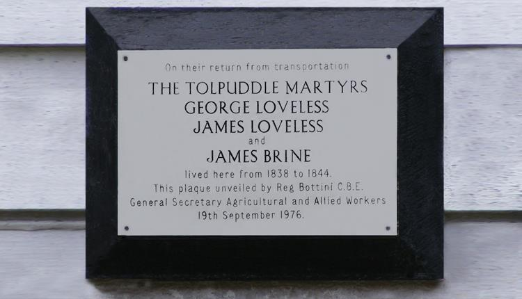 Plaque to the Tolpuddle Martyers who lived near Ongar from 1838 to 1844