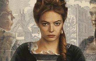 """Abigail Hill, to become Abigail Masham, as portrayed by Emma Stone in """"The Favourite"""". In the background is Otes Hall, the real Abigail's future home."""