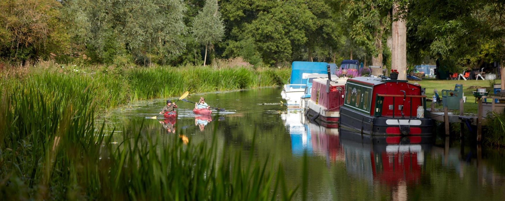 Two people paddling along the Chelmer and Blackwater Navigation in their kayaks