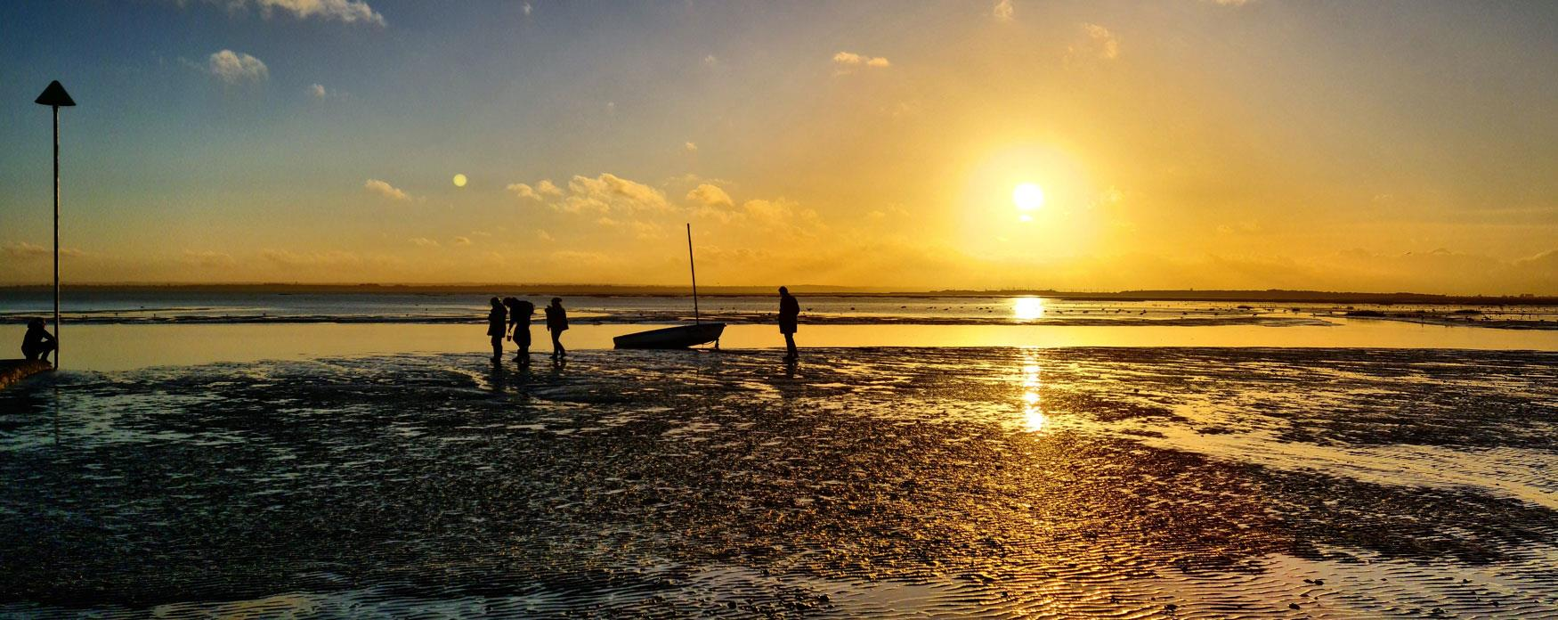 Leigh on sea when tides out  at sunset