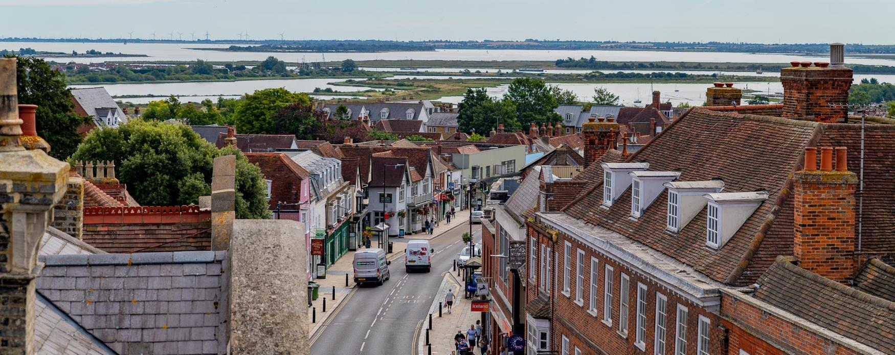 A view of Maldon from the roof of Moot Hall