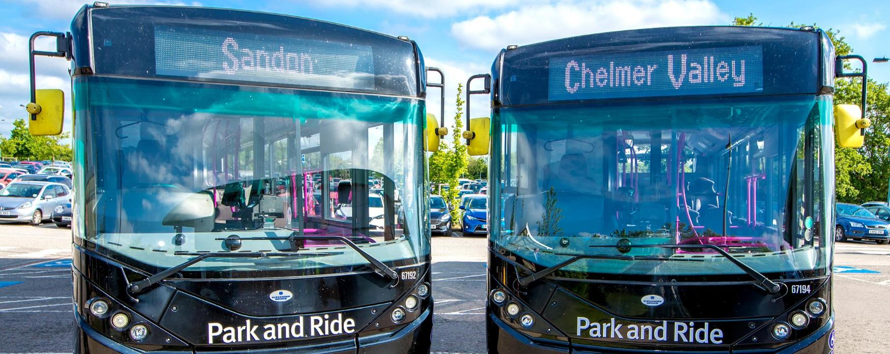 Two park and ride buses in Chelmsford