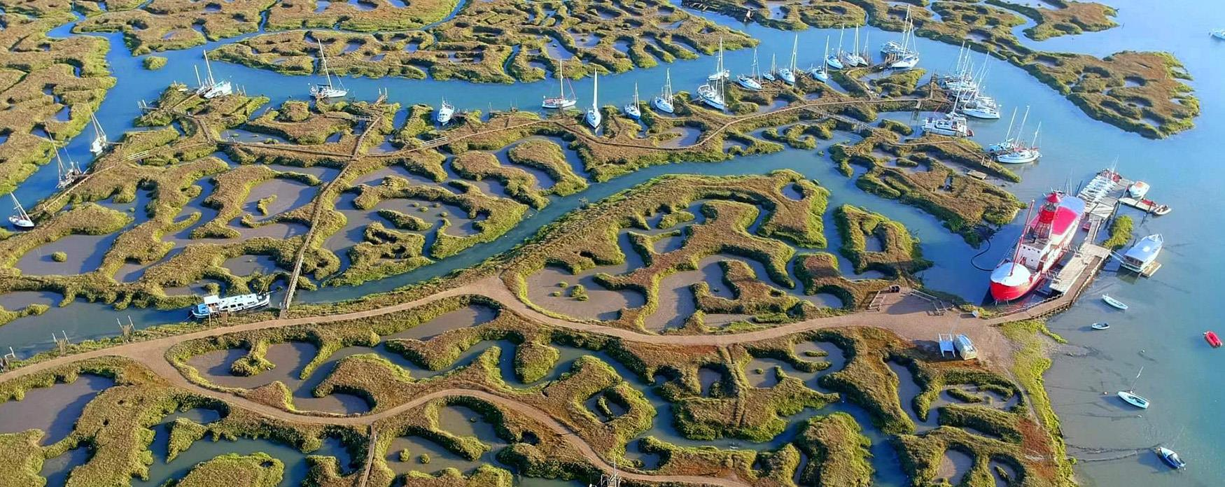 An aerial shot of Tollesbury marshes and boats