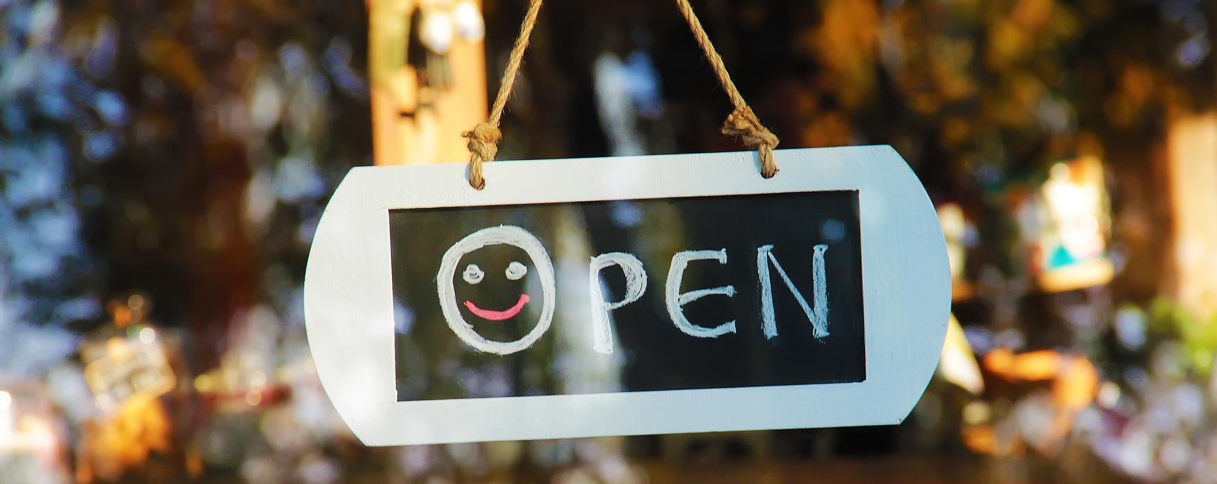 Smiley face Open sign