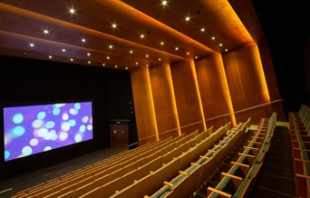 Firstsite cinema, showing rows of theatre style seating leading down to the big screen