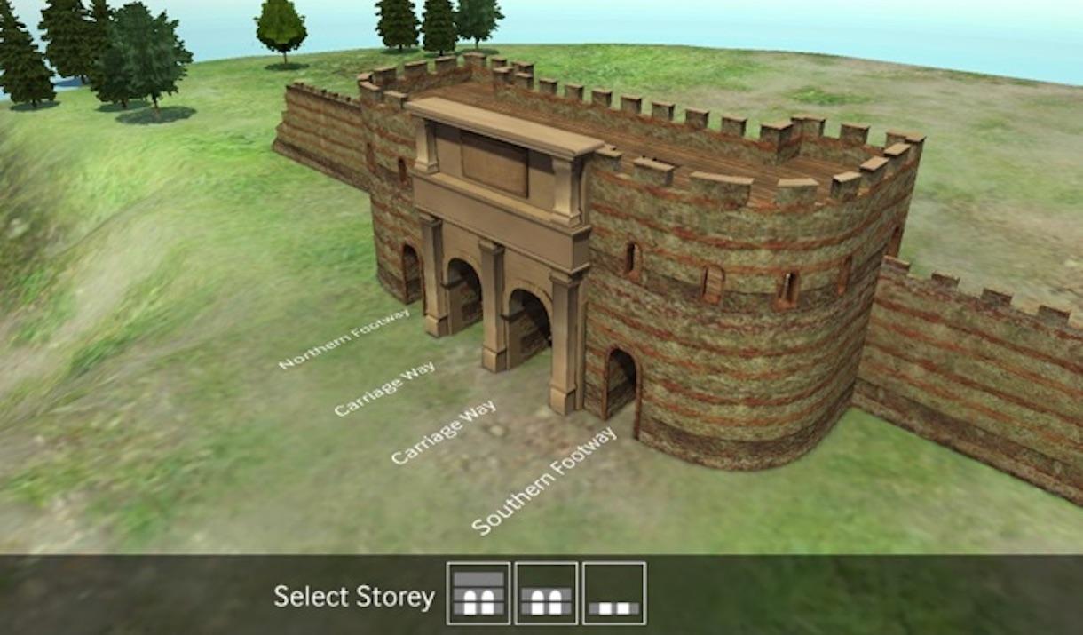 Ancient Colchester App showing Balkerne Gate
