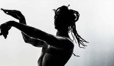 A half-silhouetted dancer gestures with his hands