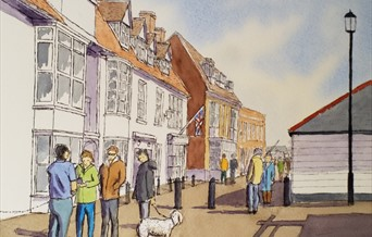 'A busy day on the Quay' line and wash by Mick Ives