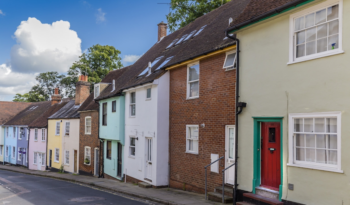 Colourful Houses in the Dutch Quarter Colchester