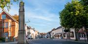 Picture of Dunmow High Street with the war memorial