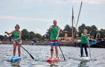 Stand up paddle boarding with Frangipani SUP in Maldon Harbour in Essex.
