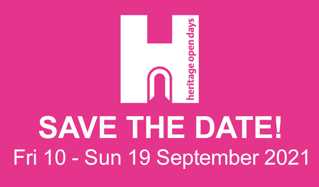 Logo for Heritage Open Days, neon pink background with white text, Save the date Fri 10 - 19 September 2021