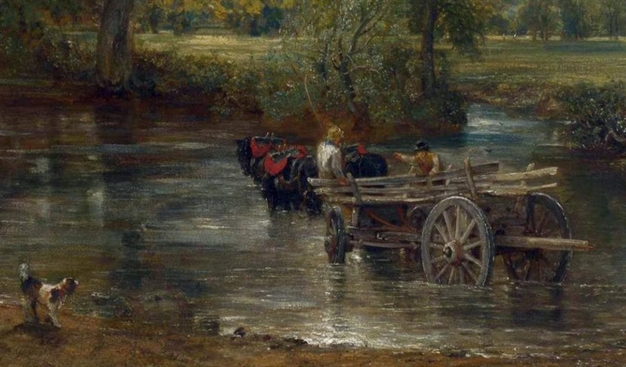 A detail of the cart stuck in the river from John Constable's The Hay Wain