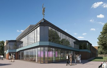 Visualisation of glass wing of new Mercury Theatre building with Mercury statue.