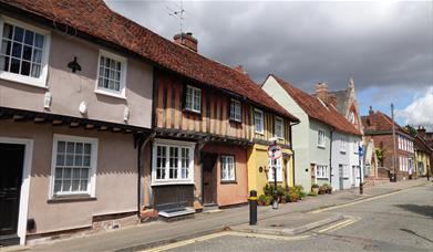 Saffron Walden colourful street of houses
