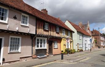 Saffron Walden colourful street of houses