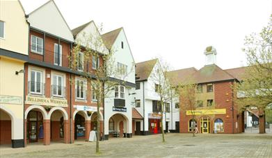South Woodham Ferrers Town Square with shops and trees in the foreground.