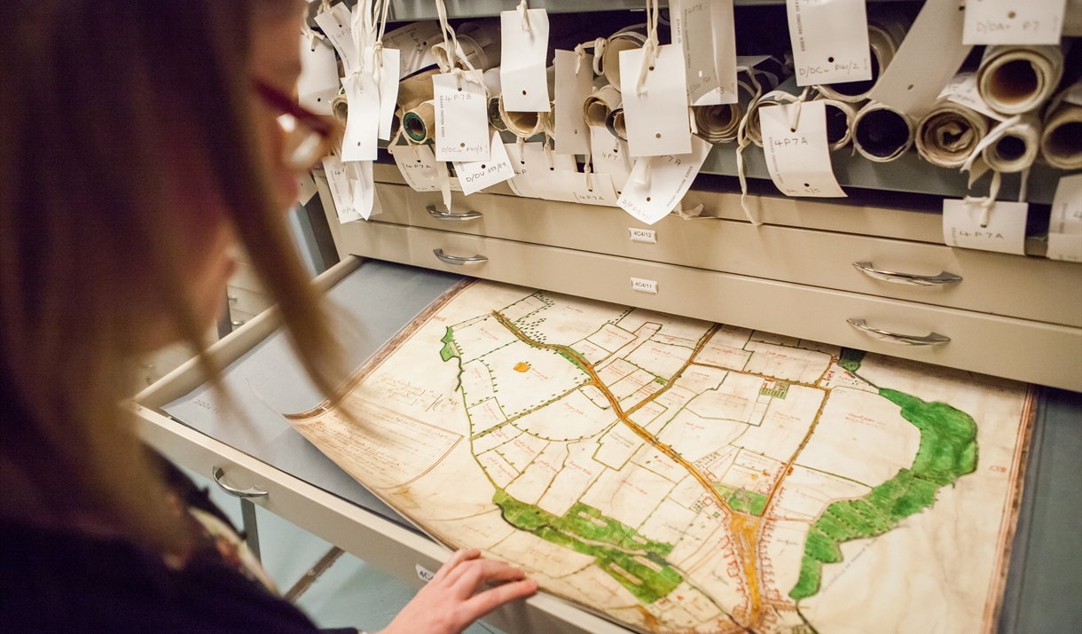 Person viewing the Walker Map of Chelmsford at the Essex Record Office