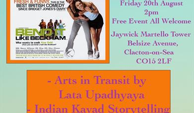 Image of Bend it Like Beckham film, description of event with Indian food stalls, storytelling, 2pm start, 20 Aug, Jaywick Martello Tower