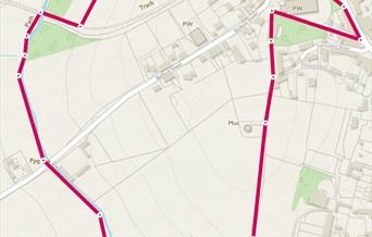 Map showing circular walk around village
