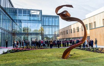 Unveiling of 'Twofold', Nick Hornby, 2019, on the Harlow Sculpture Town Cycle Loop Trail. Photographed by Brian Thomas.