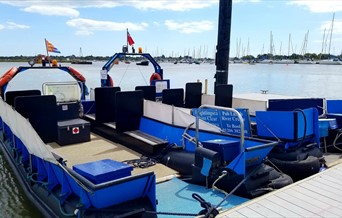 Brightlingsea Harbour ferries on the town jetty ready to take you across to Point Clear and East Mersea