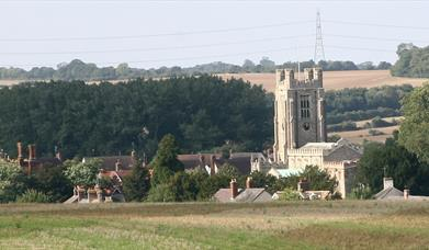 View of village and church from fields