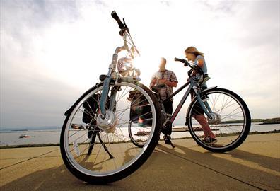 Bikes next to the River Exe