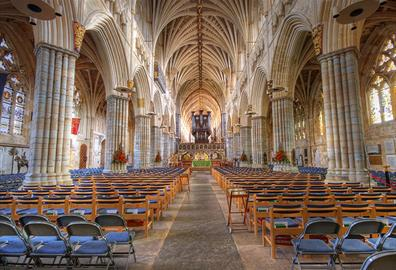 Internal of Exeter Cathedral taken from the end of the aisle looking at the alter