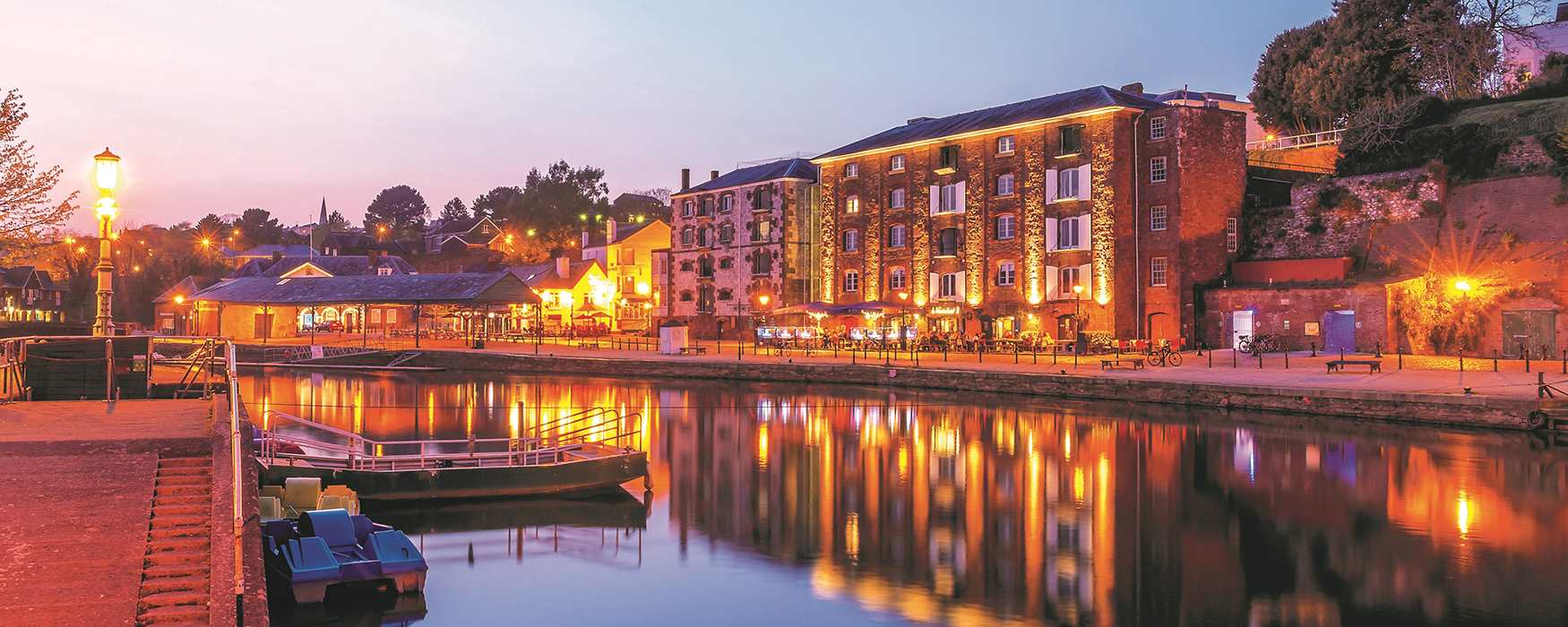 Exeter Quayside, at nighttime