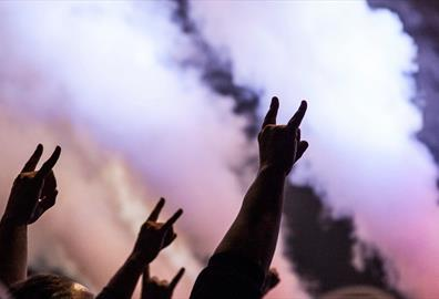 People at a concert making the sign of the horns hand gesture