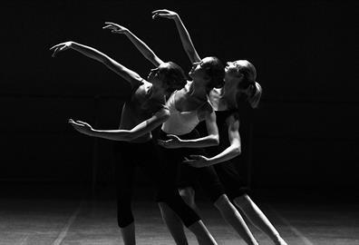 Three women ballet dancing