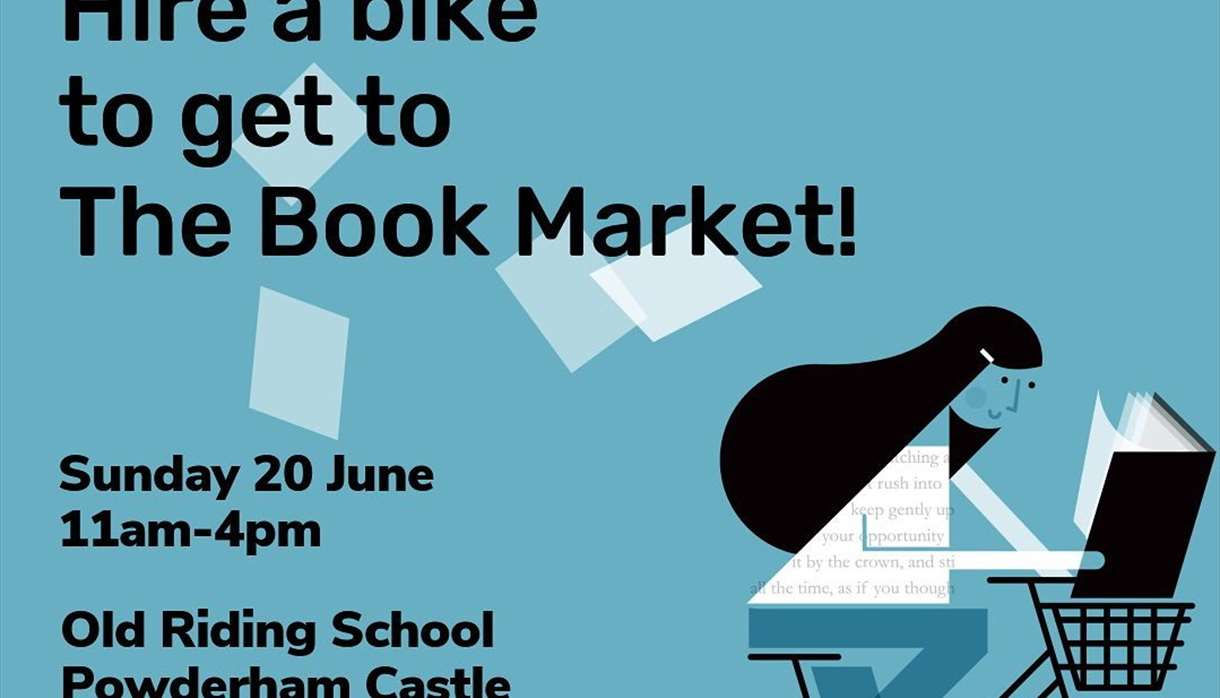 """""""Hire a bike to get to the Book Market"""" graphic from Exeter City of Literature"""
