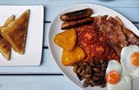 Fried breakfast with toast