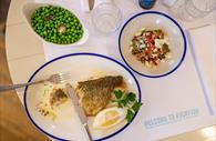 Seabass meal with trimmings