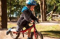 Child in the forest on his bike