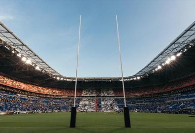 Rugby stadium with fans