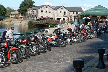 Classic motorcycle club at Exeter Quay