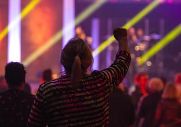 Woman watching a concert with right arm in the air