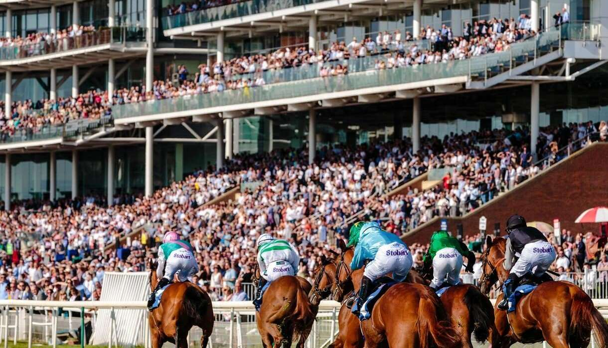Large crowd watching a horse race