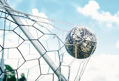 Football in the back of a net