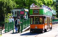 Seaton Tramway pulling into the station