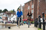 Cycling along Exeter Quayside (c) Tony Cobley