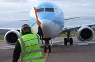 A plane preparing to take off at Exeter Airport
