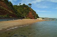 Coryton Cove beach with the tide in