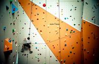 Zoomed out image of climber in Quay Climbing Centre