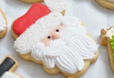 Santa shaped sugar cookie